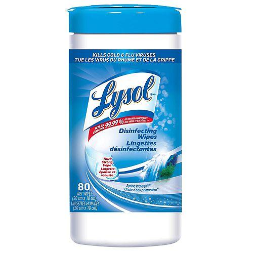 Lingettes désinfectantes, Chute d'eau printanière, 80lingettes, désinfection, nettoyage, assainissement