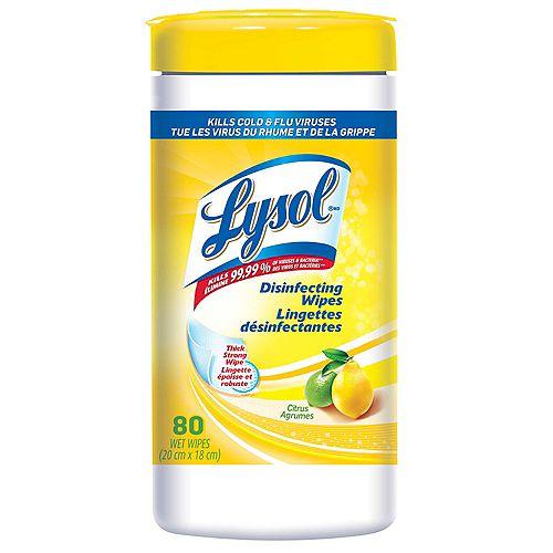 Lingettes désinfectantes, Citron, 80lingettes, désinfection, nettoyage, assainissement