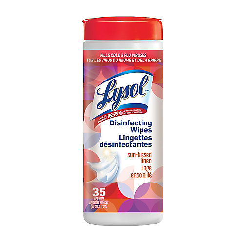 Lingettes désinfectantes, Linge ensoleillé, 35lingettes, désinfection, nettoyage, assainissement