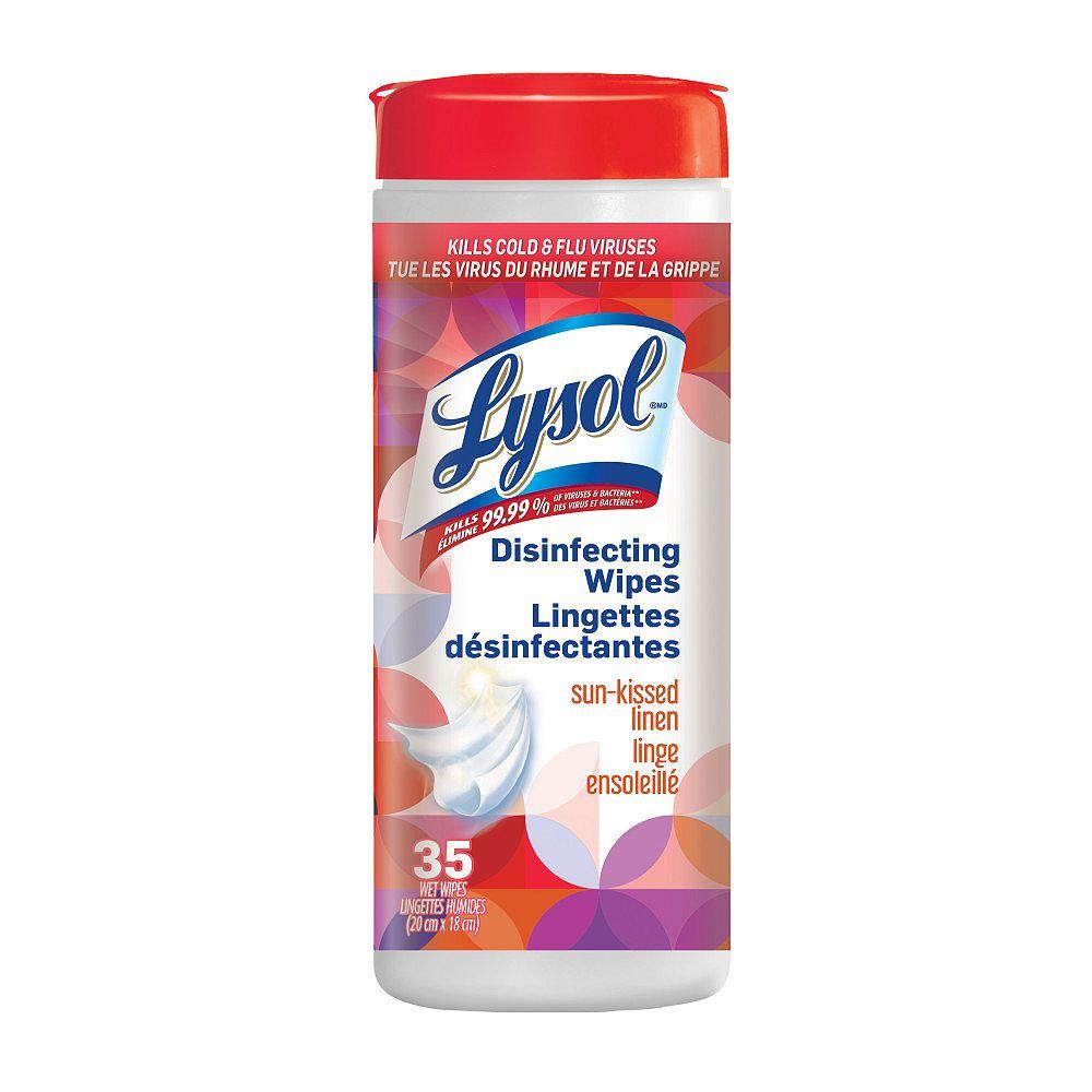 Lysol Lingettes désinfectantes, Linge ensoleillé, 35lingettes, désinfection, nettoyage, assainissement