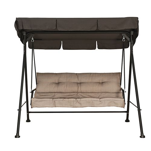 3-Person Patio Swing with Cushion and Canopy