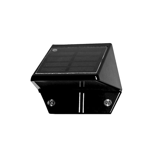 Solar 2-LED Outdoor Black Integrated LED Deck and Wall Light