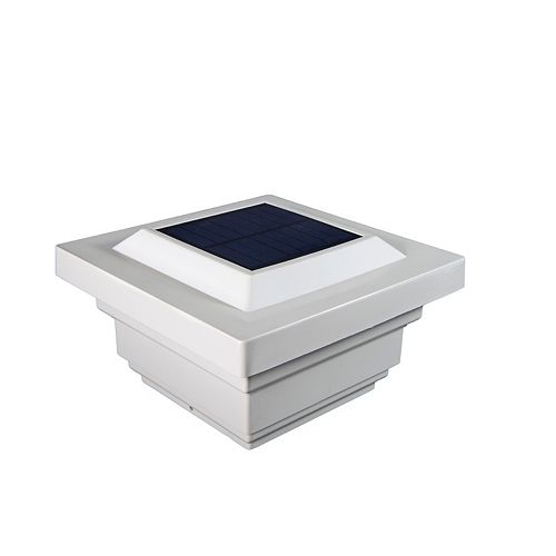 Regal 4 inch x 4 inch Outdoor White Vinyl LED Solar Post Cap