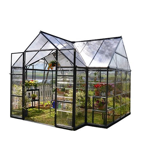 Garden Chalet 12 ft. x 10 ft. T-Shaped Aluminum & Polycarbonate Black Greenhouse