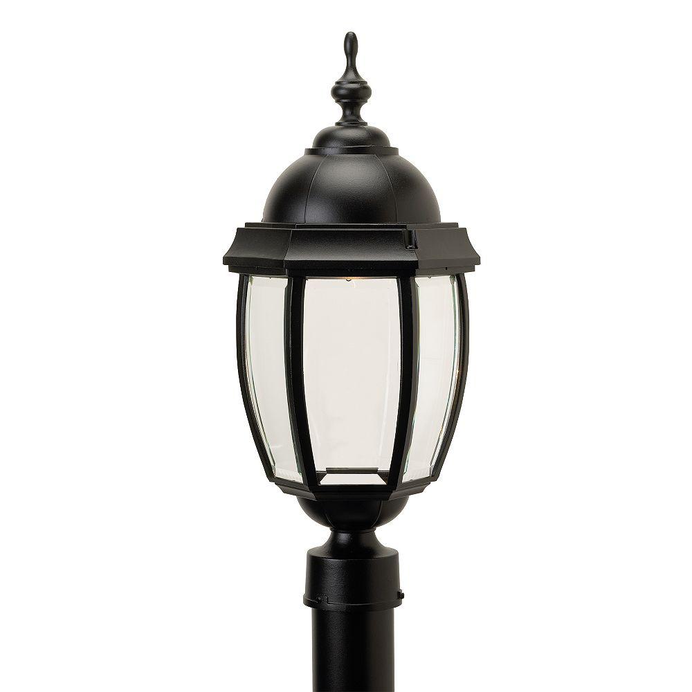 Snoc Vintage III, grand, luminaire sur poteau au DEL 7 watts, verre biseauté clair, noir  (poteau non-inclus)