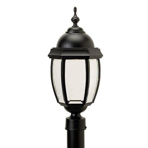 Vintage III, grand, luminaire sur poteau au DEL 7 watts, verre biseauté clair, noir  (poteau non-inclus)