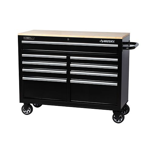 46-inch 9-Drawer Mobile Workbench with Solid Wood Top