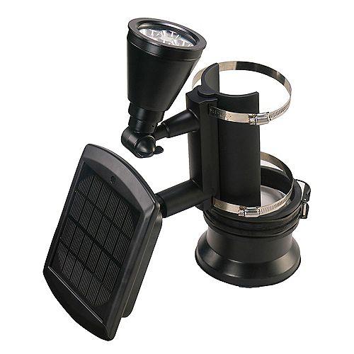 Solar Powered Outdoor Black 4 LED Flagpole Light