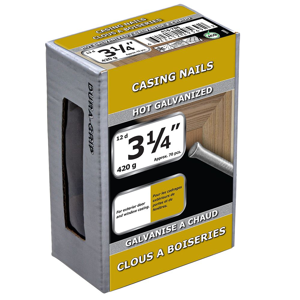 Paulin 3-1/4-inch (12d) Casing Nails Hot Galvanized - 420g (approx. 78 pcs. per package)