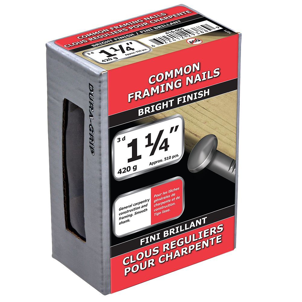 Paulin 1-1/4-inch (3d) Common Framing Nails Bright Finish - 420g (approx. 516 pcs. per package)