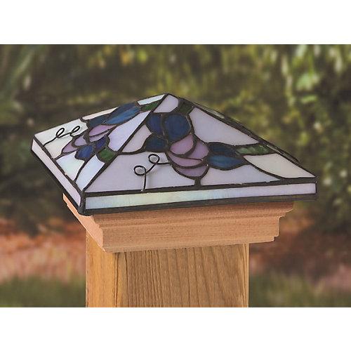 10 cm x 10 cm Capuchon de Poteau Style Tiffany Tournesol Socle en Bois Traité Sous Pression