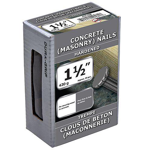 Clous à béton 1-1/2 pouces Bright FInish - 420g (environ 97 pcs. par paquet)