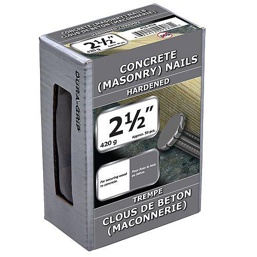 Clous à béton 2-1/2 pouces Bright FInish - 420g (environ 58 pcs. par paquet)