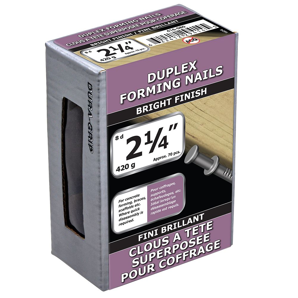 Paulin 2-1/4-inch (8d) Duplex Forming Nails Bright Finish - 420g (approx. 78 pcs. per package)