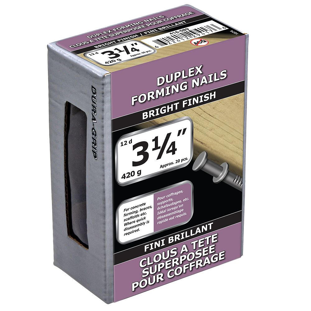 Paulin 3-1/4-inch (12d) Duplex Forming Nails Bright Finish - 420g (approx. 28 pcs. per package)