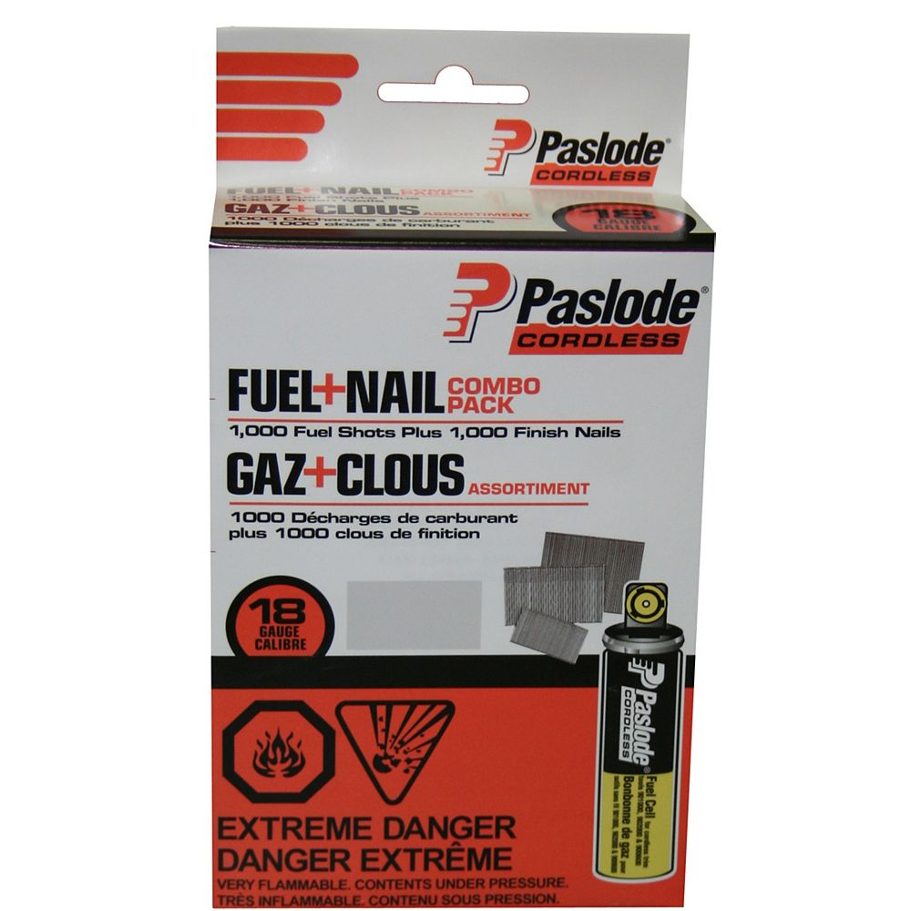"""Paslode Brad Fuel+Nail Combo Pack (1,000 - 1-1/4"""" 18 Gauge Brad Nails + 1 Short Yellow Fuel Cell)"""