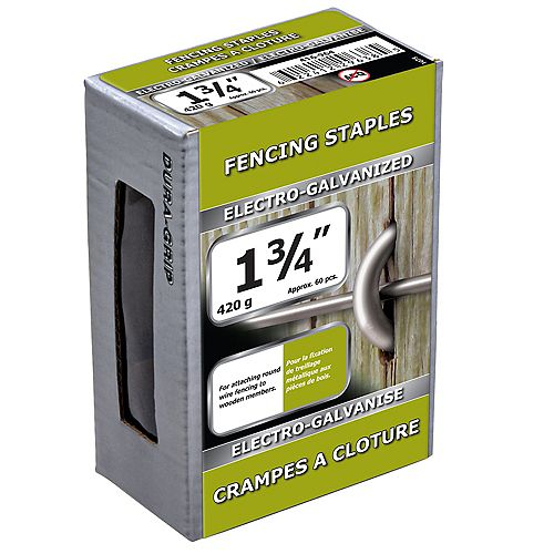 1 3/4-inch Fence Staple-Electro Galvanized-420g (approx. 60  pieces per package)