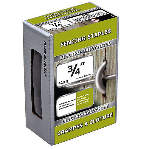 Agrafe de clôture de 3/4 po galvanisée par électrolyse - 420 g (environ 380 pièces par paquet)