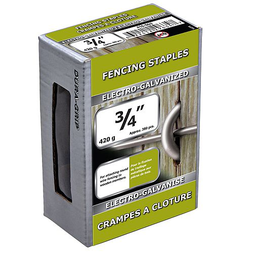 3/4-inch Fence Staple-Electro Galvanized-420g (approx. 380  pieces per package)