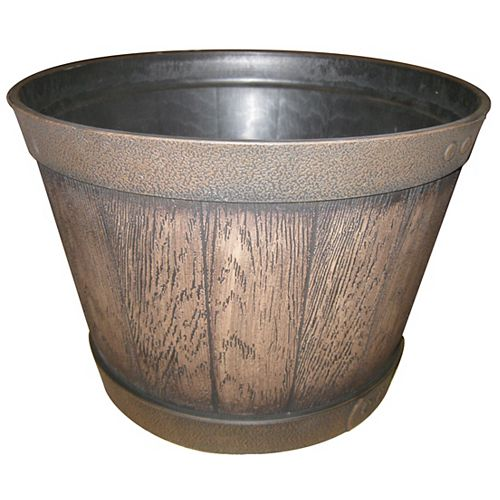 15 1/2-inch Finished Resin Whiskey Barrel in Walnut