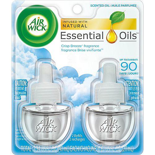 Airwick Purificateur d'air à brancher, recharges d'huile parfumée, Brise vivifiante, 2recharges