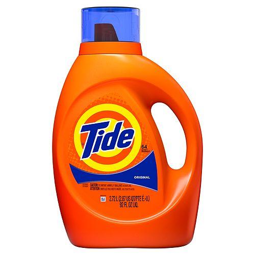 Tide Détergent à lessive liquide Tide, parfum Original, 64 brassées, 2,72 L