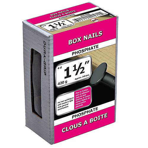 Paulin 1-1/2-inch (4d) Box Framing Nails Phosphate - 420g (approx. 344 pcs. per package)