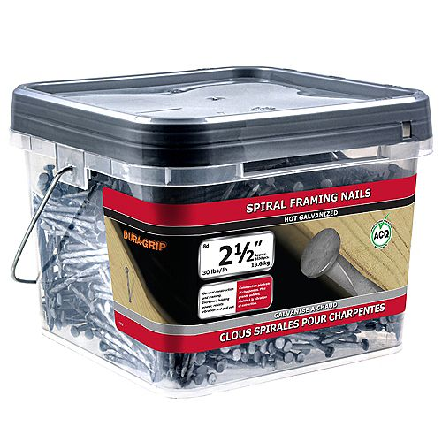 Paulin 2-1/2-inch (8d) Spiral Framing Nails Hot Galvanized - 30lbs (approx. 3555 pcs. per package)