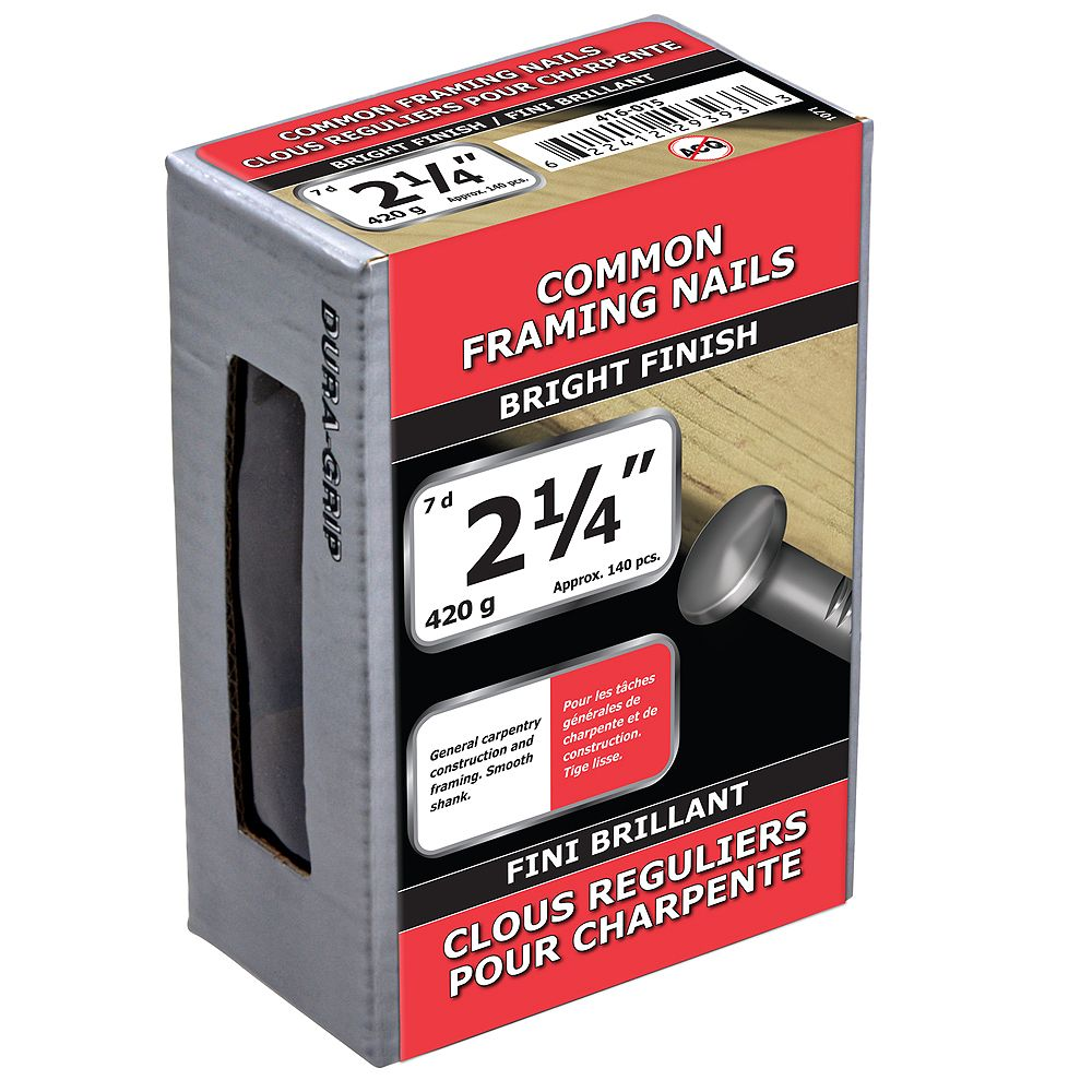 Paulin 2-1/4-inch (7d) Common Framing Nails Bright Finish - 420g (approx. 144 pcs. per package)