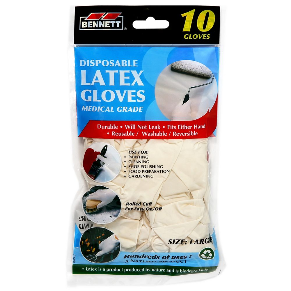 BENNETT Latex Disposable Gloves (10-Pack) (C)