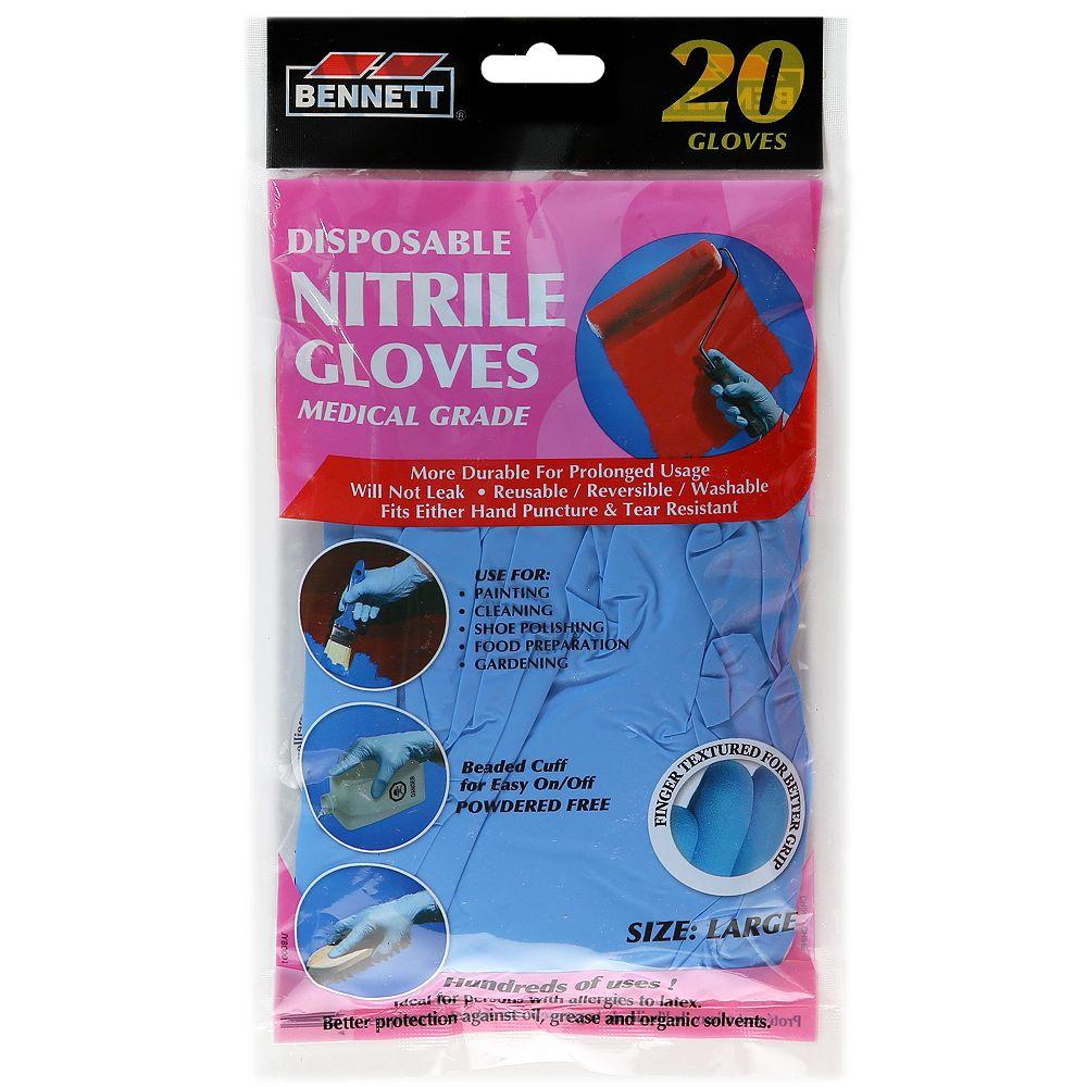 BENNETT Nitrile Disposable Gloves (20-Pack)