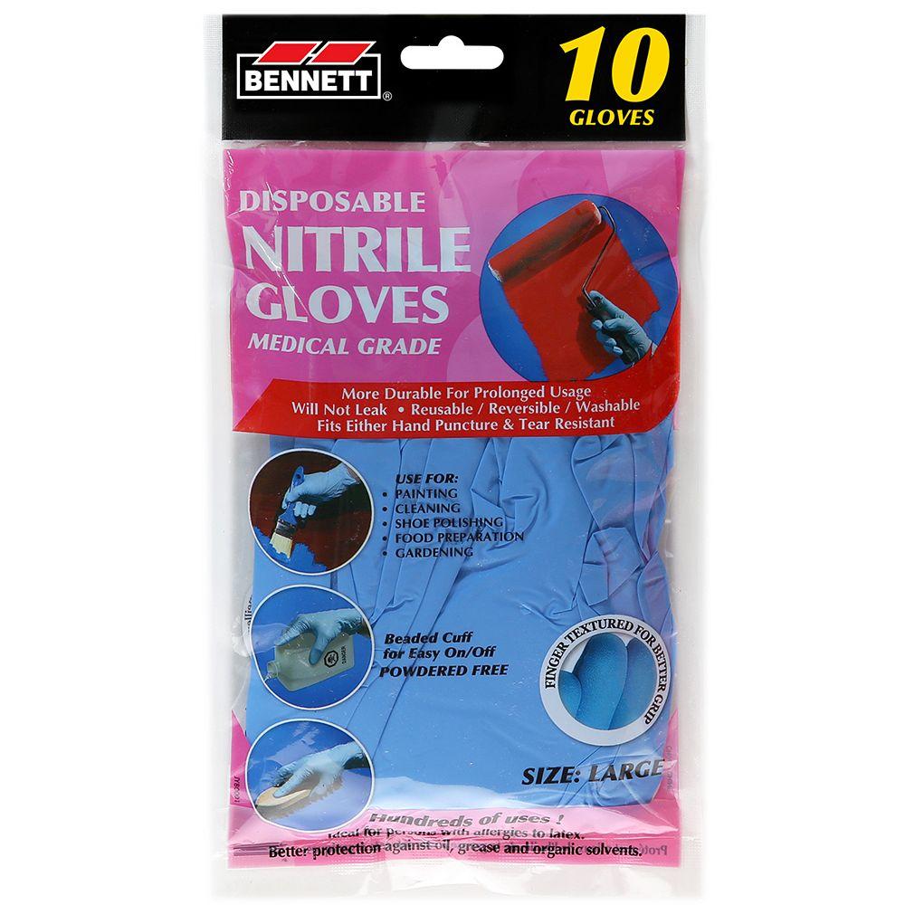 BENNETT Nitrile Disposable Gloves (10-Pack)