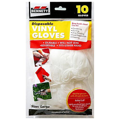 10 Disposable Vinyl Gloves