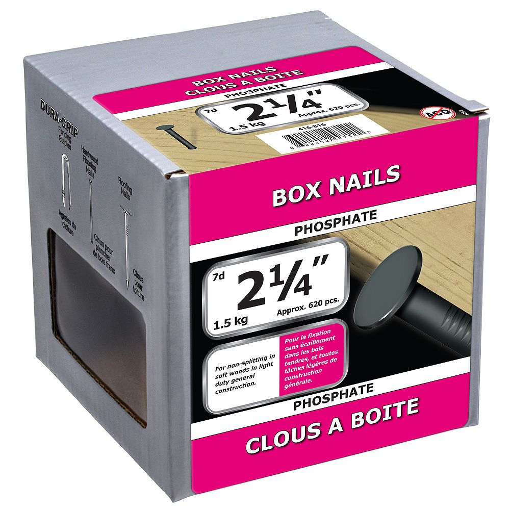 Paulin 2-1/4-inch (7d) Box Framing Nails Phosphate - 1.5kg (approx. 625 pcs. per package)