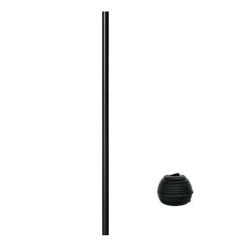 32 po Balustre en aluminium Rond avec connecteurs Fastball - 15/paquet - Noir