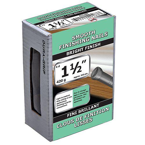Paulin 1-1/2 pouce (4d) clous à finition lisse Finition brillante - 420g (environ 540 pcs. par paquet)