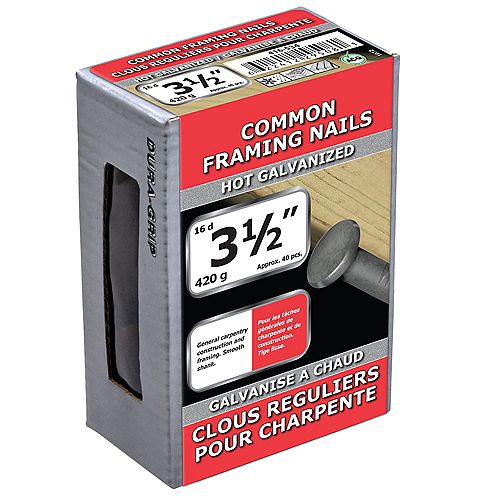 3 1/2-inch (16d) Common Framing Nail-Hot Galvanized-420g (approx. 40  pieces per package)