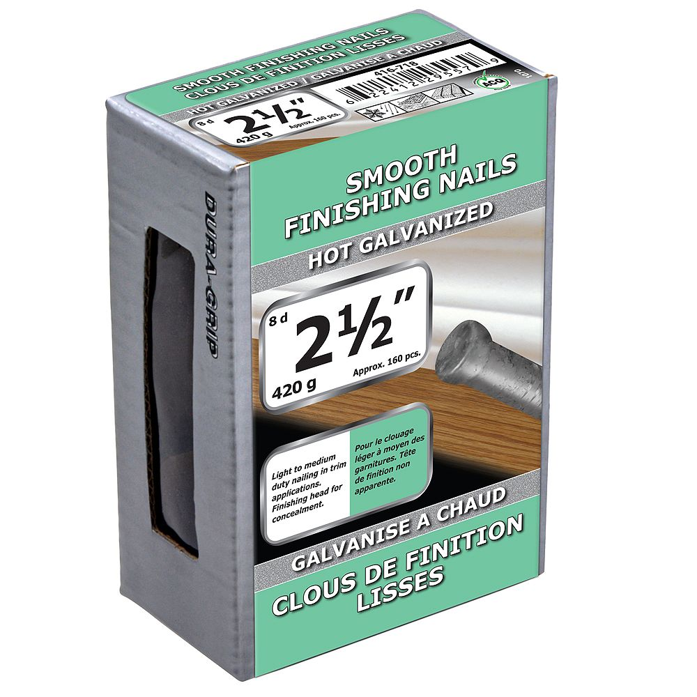Paulin 2-1/2-inch (8d) Smooth Finishing Nails Hot Galvanized - 420g (approx. 160 pcs. per package)