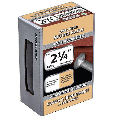 Clous de bardage 2-1/4 pouces (7d) Clous à tête ovale galvanisés à chaud - 420g (environ 171 pcs. par paquet)