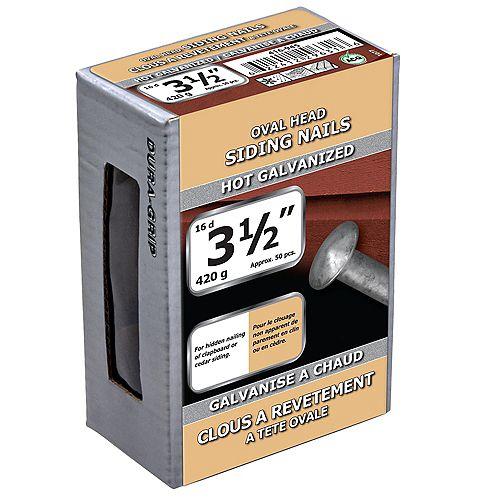 Clous à tête ovale de 3-1/2 pouces (16d) galvanisés à chaud - 420g (environ 52 pcs. par paquet)