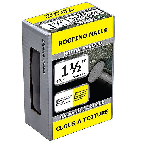 1 1/2-inch Roofing Nail-Hot Galvanized-420g (approx. 130  pieces per package)