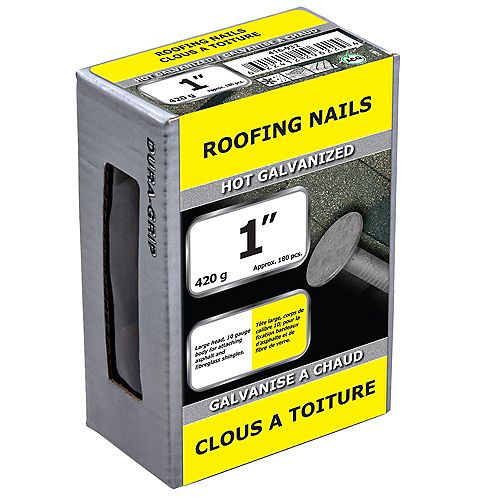 1-inch Roofing Nail-Hot Galvanized-420g (approx. 180  pieces per package)