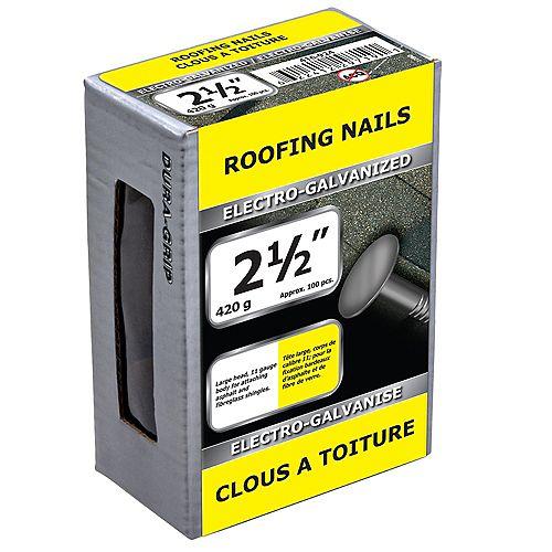 Paulin Clous à toiture 2-1/2 pouces électro-galvanisés - 420g (environ 103 pcs. par paquet)
