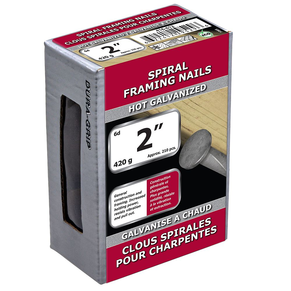 Paulin 2 Inch 6d Spiral Framing Nails Hot Galvanized 420g Approx 218 Pcs Per Packag The Home Depot Canada