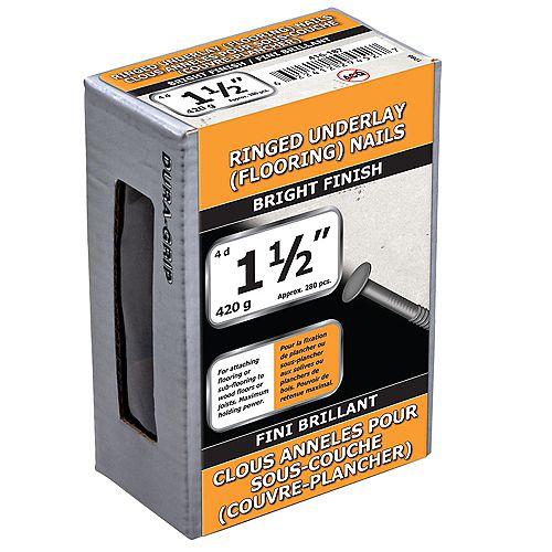Clous de sous-couche de 1-1/2 pouce (4d) à finition brillante - 420g (environ 282 pcs. par paquet)