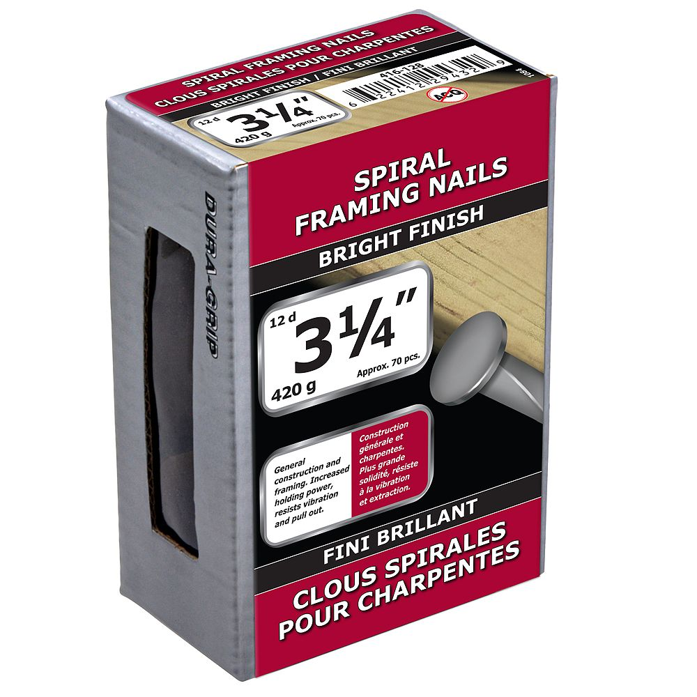 Paulin 3-1/4-inch (12d) Spiral Framing Nails Bright Finish - 420g (approx. 75 pcs. per package)
