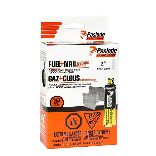 """Brad Fuel+Nail Combo Pack (1,000 - 1-1/2"""" 18 Gauge Brad Nails + 1 Short Yellow Fuel Cell)"""
