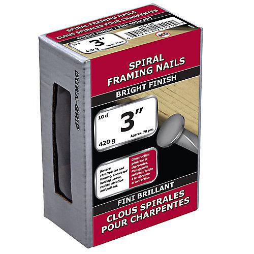 """3"""" (10d) Clou d'encadrement en spirale - Plaqué brillant - 420 g (environ 70 pièces par paquet)"""