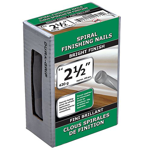 Paulin 2-1/2-inch (8d) Spiral Finishing Nails Bright Finish - 420g (approx. 186 pcs. per package)