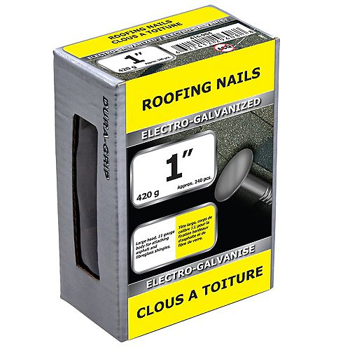 1-inch Roofing Nail-Electro Galvanized-420g (approx. 240  pieces per package)